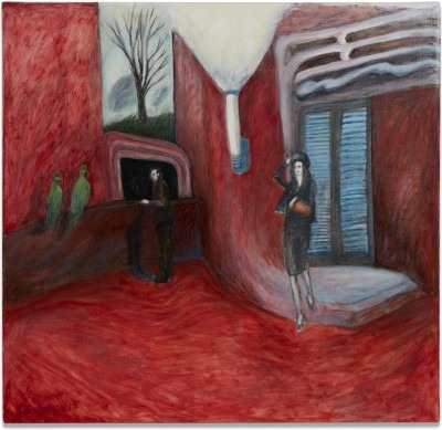 painted image of a red room and woman in black