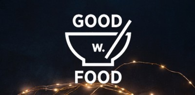 black background with Good w Food logo and event details in centre