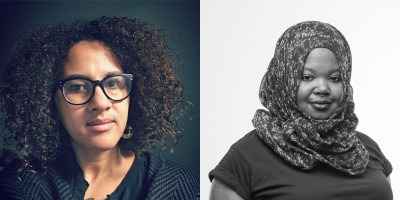 Photo of Liz Irikiko on left and photo of Kameelah Janan Rasheed on right.