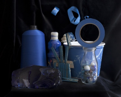 Photo of blue objects with black background