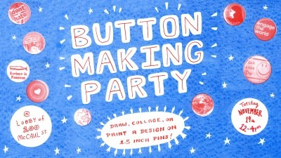 "Floating, glowing hand drawn letters with the text ""Button making party"""