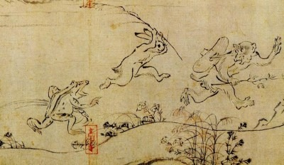 Part of a Japanese scroll of a frog and rabbit chasing a monkey