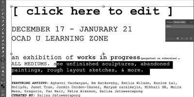 """""""[click here to edit]"""" Exhibition poster with a screen shot image of text being edited in a design application progress"""
