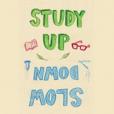 "text: ""Study Up, Slow Down"" surrounded by drawings of a book, glasses, a candle and incense"