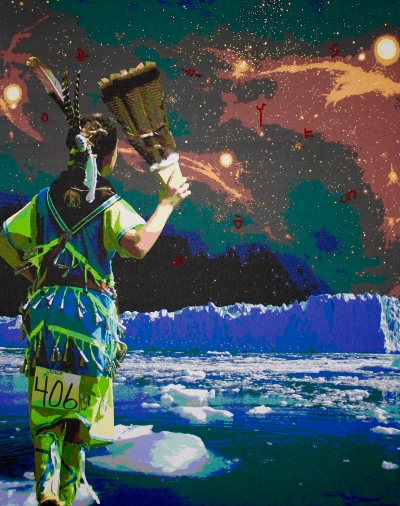 image of the back of a woman in traditional first nations clothing with stylized landscape background