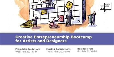 illustration of characters climbing calendar. Purple banner that reads Creative Entrepreneurship Bootcamp for Artists & Designer
