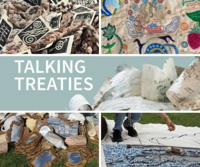 talking treaties in white text on eggshell blue background surrounded by textile art, birch papers, and block prints