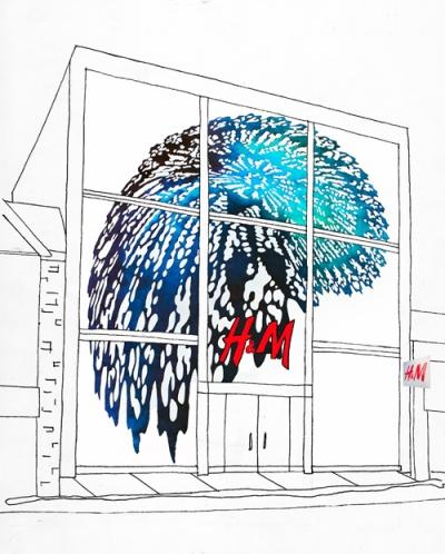 digital rendering in a storefront window