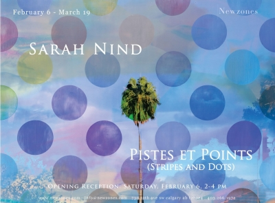 Poster for event with one of Sarah Ninds artworks