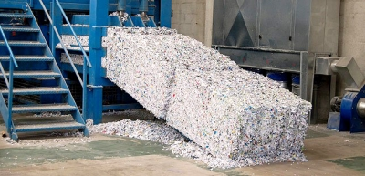 photograph of large blocks of shredded paper
