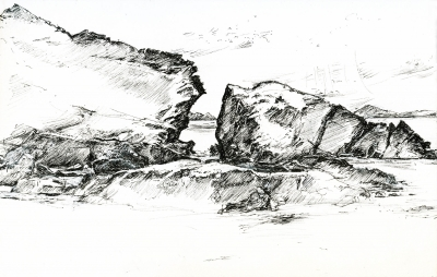 Black and White Landscape Drawing