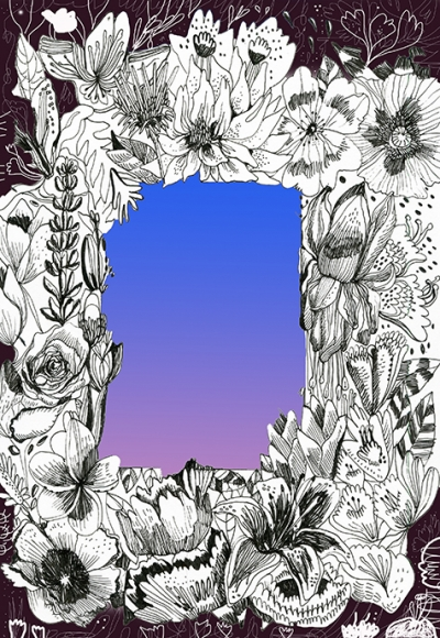 Image of a decorative floral illustrations surrounding an open space with a gradient of purple