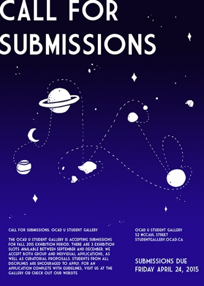 Poster of night sky with floating planets and other celestial objects