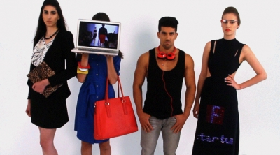 Group of male and female models with wearable technology
