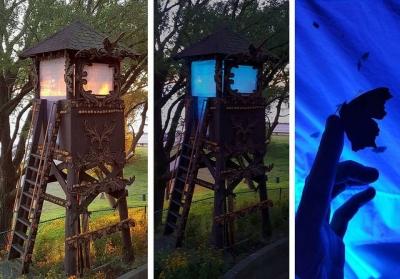 3 photos of an illuminated watchtower