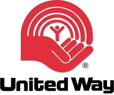 Image of an open palm with a figure beneath a rainbow and the words united way below in black type