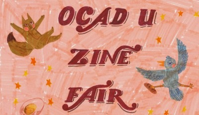 Drawings of cute animals floating around OCAD U Zine Fair text