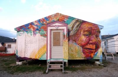 Matta, the eldest elder in town. Nunavik. Image courtesy Cape Dorset Mural Project