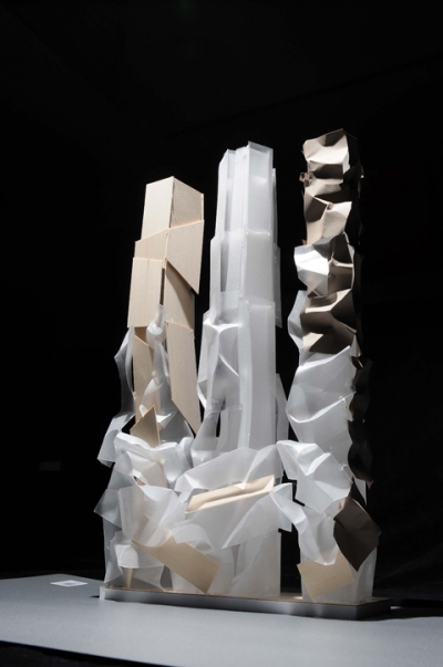 Another early model of the three Mirvish+Gehry towers, Courtesy of Gehry International, Inc.