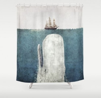The Whale shower curtain by Terry Fan available on Society6