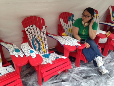 Rosena Fung working on her chairs. Photo: Christine Crosbie.