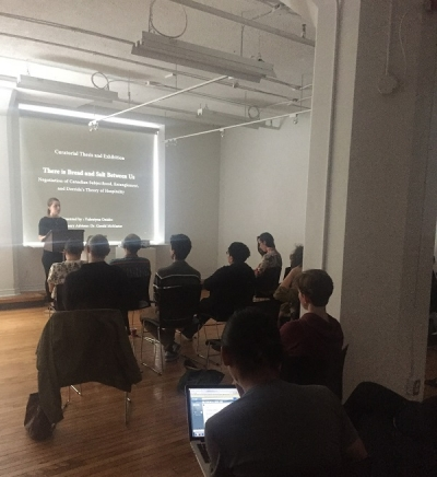 CCP student Valentyna Onisko presenting to audience at CCP Colloquium