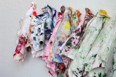 Rags covered in paint