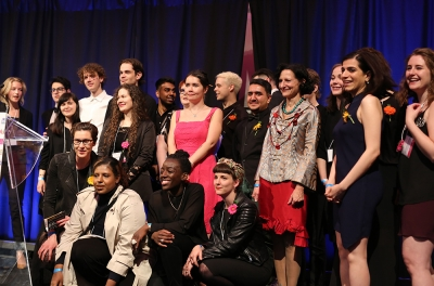 Group shot of medal winning students with Dr. Sara Diamond