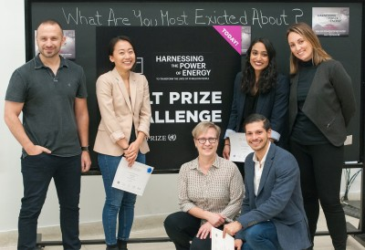 Winning Team Fleet with industry leaders and Hult Prize competition at OCAD U Judges