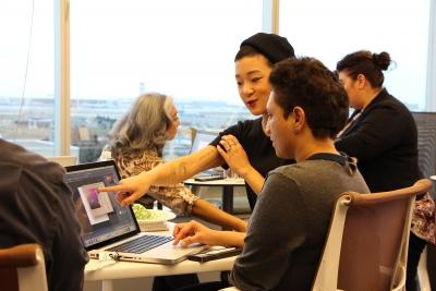 Student artist Dahae Song teaching workshop