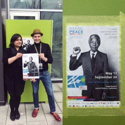 "photograph of Mariam Magsi holding ""Making Peace"" poster"
