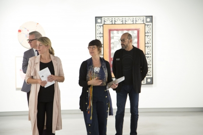 MP Adam Vaughan, Minister Melanie Jolie, Lisa Smith and Francisco Alvarez touring the gallery