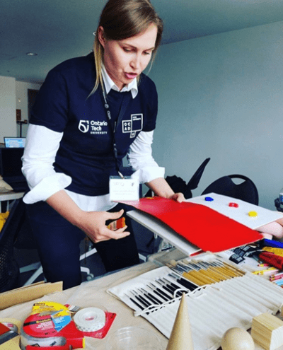 Professor Veronika Szkudlarek (OCADU) teaches a materials workshop for participants to explore painting and sculpture before fur