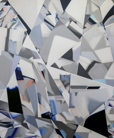 Painting of what looks like a close up of a diamond, with facets in blues and greys