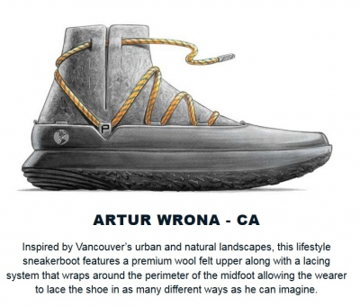 Rendering of sneaker by Artur Wrona, design student