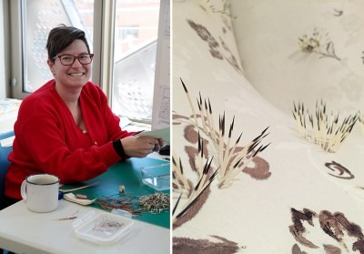 Vanessa Dion Fletcher in her studio (left), Artwork right: Vanessa Dion Fletcher, Colonial Comfort, 2016 (right)