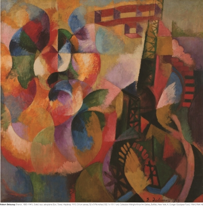 Image of an abstract painting by Robert Delauney, Soleil tour et aeroplane