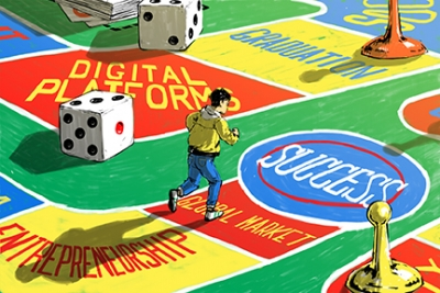 Illustration of a person running on a large boardgame