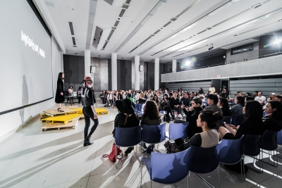 Wide shot of auditorium fashion show