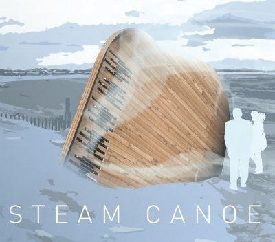 Rendering of a wooden installation on a snowy beach