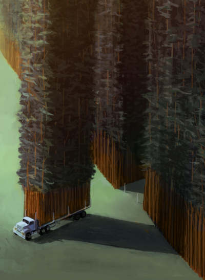 A truck drives away from the forest with a segment of trees in its cargo.