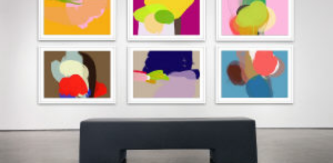 Series of colourful abstract digital paintings installed in a gallery