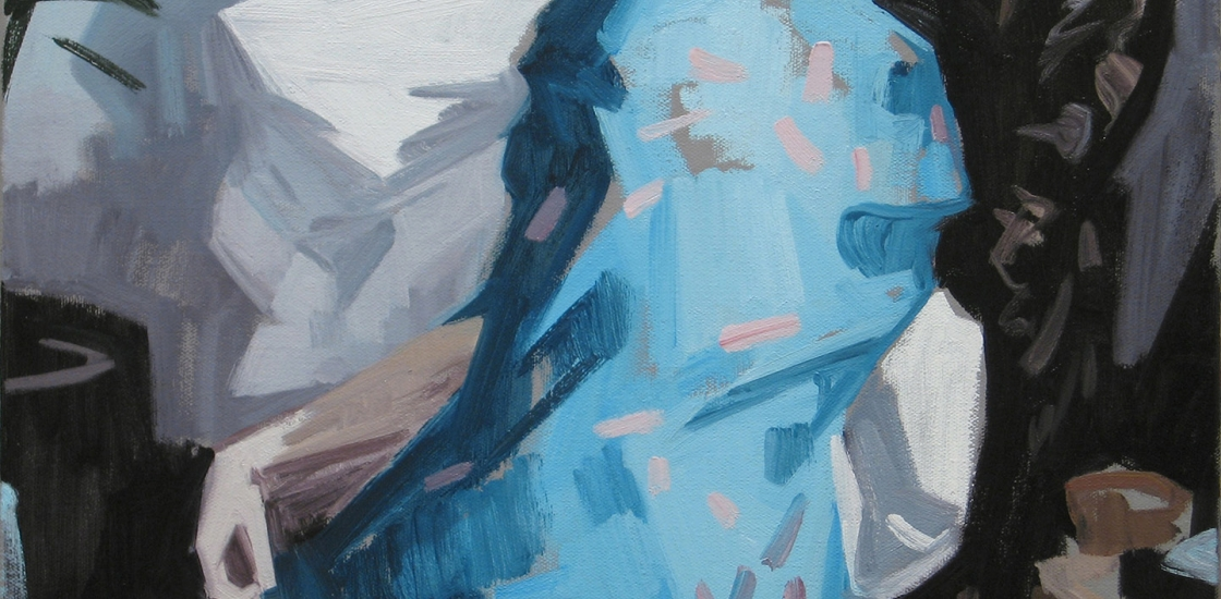 abstract figurative work, predominantly blue