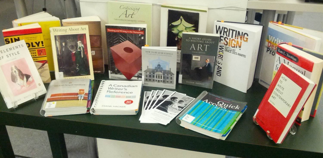 Art writing books available at the library