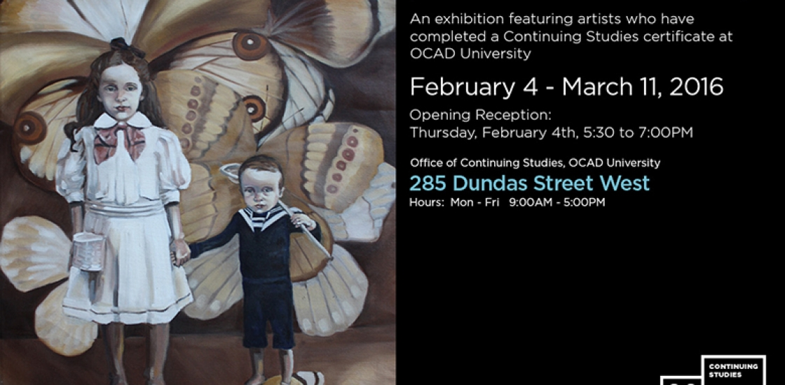 Event Poster featuring an painting of 2 kids in front of a background with butterflies