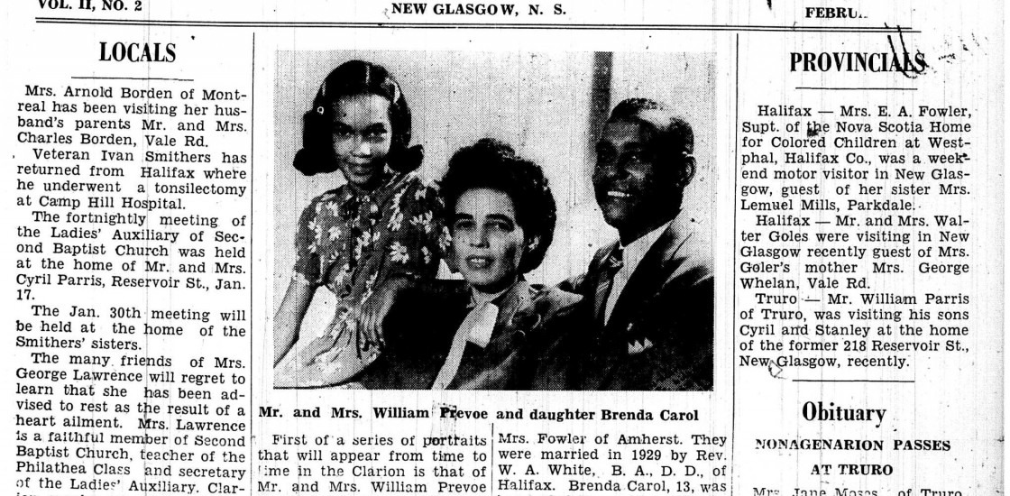 The front page of The Clarion newspaper from 1947, featuring a photograph of the Prevoe family.