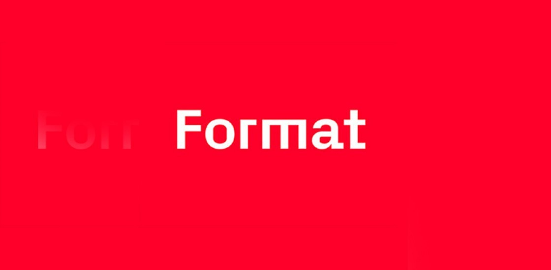 Format logo in white against red background