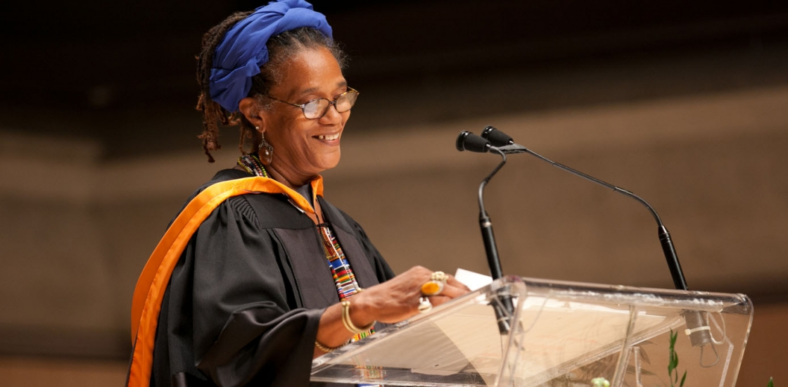 Winsom Winsom accepting an Honorary Degree from OCAD U; Photo: Christina Gapic