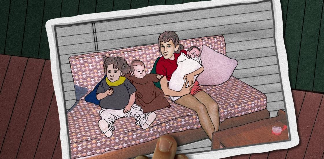 Multimedia artwork with children