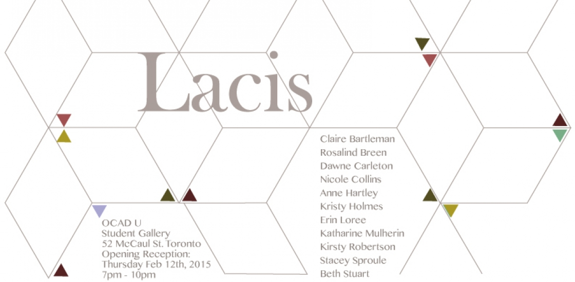 Poster with grid pattern and the word lacis in grey